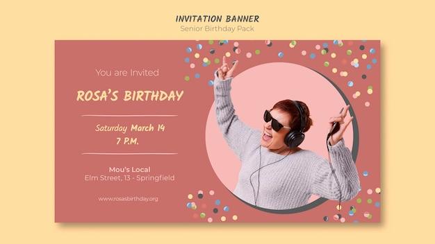 Spiksplinternieuw Senior verjaardag uitnodiging sjabloon voor spandoek | Gratis PSD JE-56