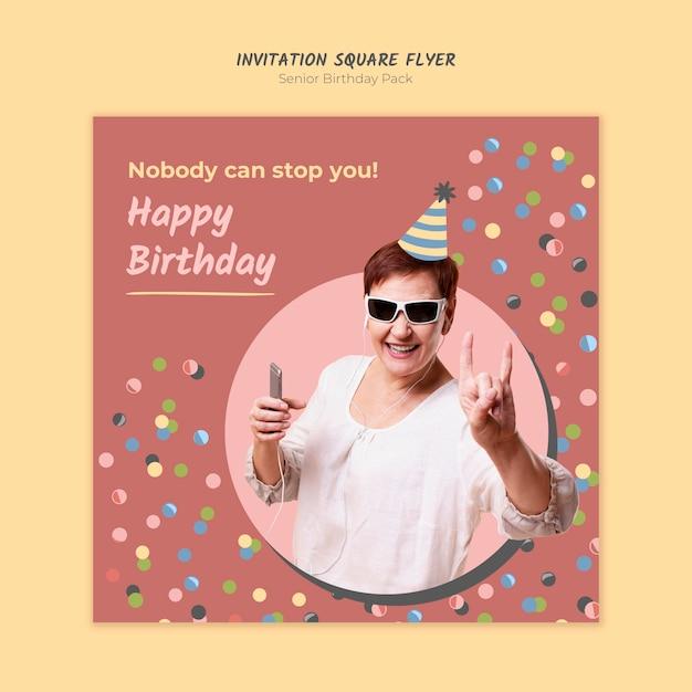 Senior verjaardag uitnodiging vierkante sjabloon folder Gratis Psd