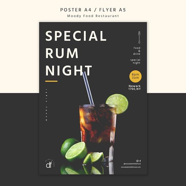 Serata speciale al rum al ristorante poster Psd Gratuite