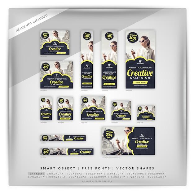 Set di banner di campagna creativa di vendita Psd Premium