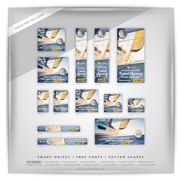Set di banner promozione agenzia di viaggi Psd Premium