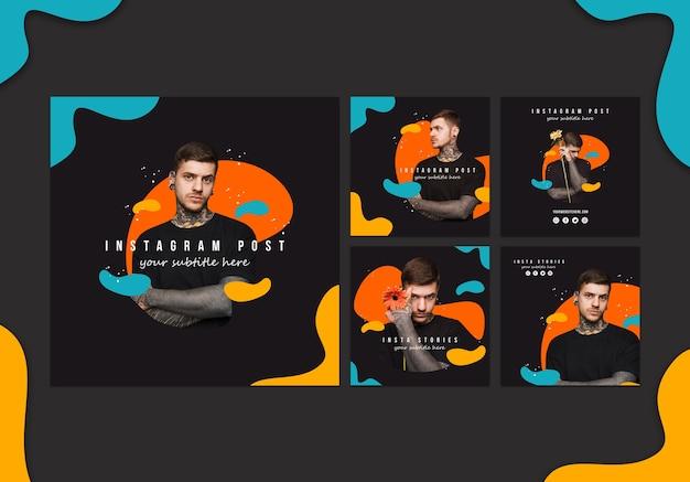 Set di carte di cancelleria con colori vividi astratti Psd Gratuite
