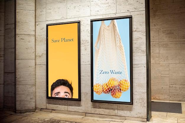 Set di cartelloni ecologici Psd Gratuite