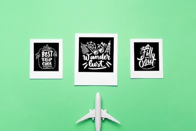 Set di citazioni di lettering motivazionali per le vacanze che viaggiano concetto Psd Gratuite