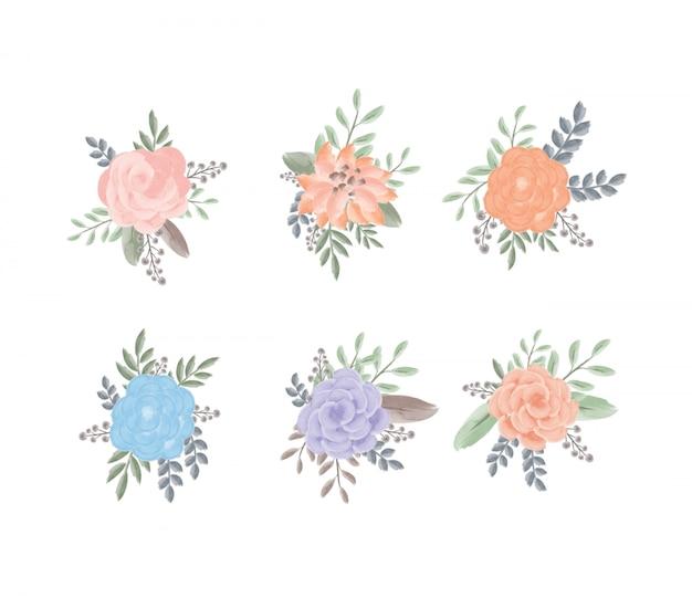 Set di fiori e foglie femminili dell'acquerello Psd Premium