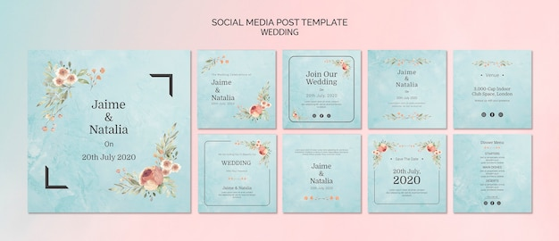 Set di partecipazioni di nozze per social media Psd Gratuite