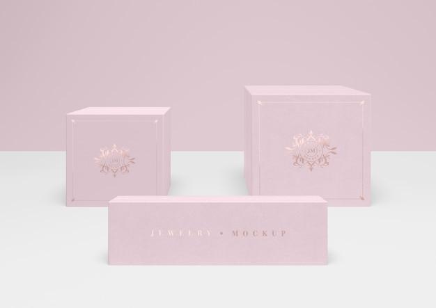Set van gesloten roze juwelendoosjes Gratis Psd