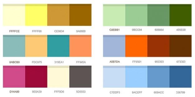 Set van kleurencombinaties Gratis Psd