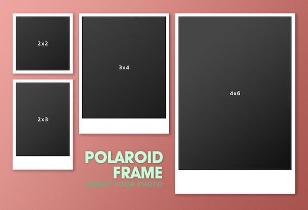 Set van polaroid-montagemodel Premium Psd
