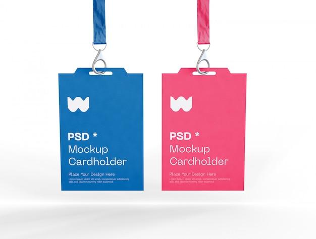 Set van twee badge-identiteitskaarten mockup Gratis Psd