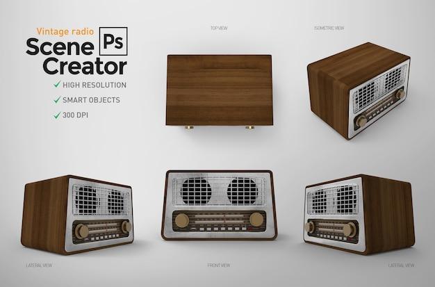 Set vintage radio. Premium Psd