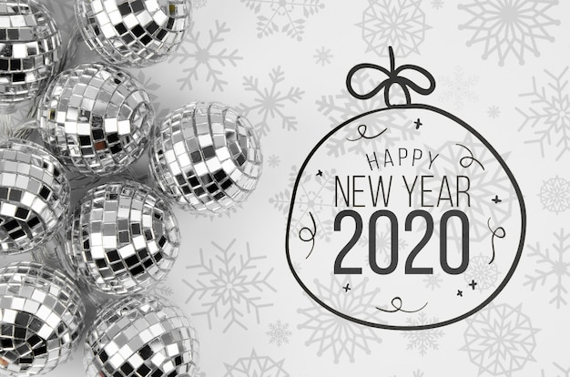 Sfere d'argento di natale con felice anno nuovo 2020 Psd Gratuite