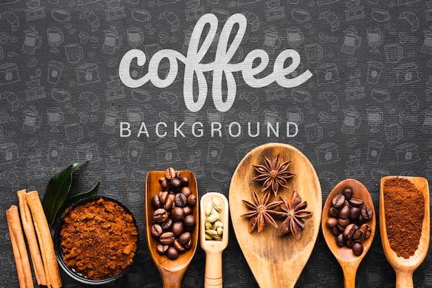 Sfondo di caffè con un cucchiaio di legno per il caffè Psd Gratuite