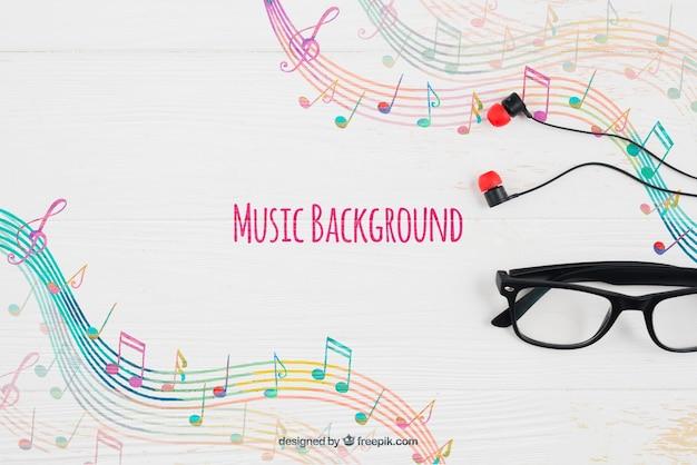 Sfondo di note musicali e bicchieri Psd Gratuite