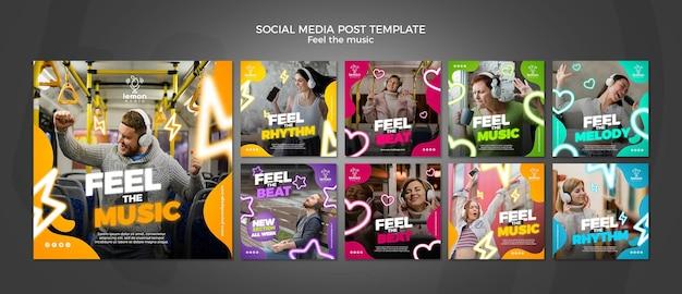 Sienta la plantilla de publicación de redes sociales del concepto de música PSD Premium