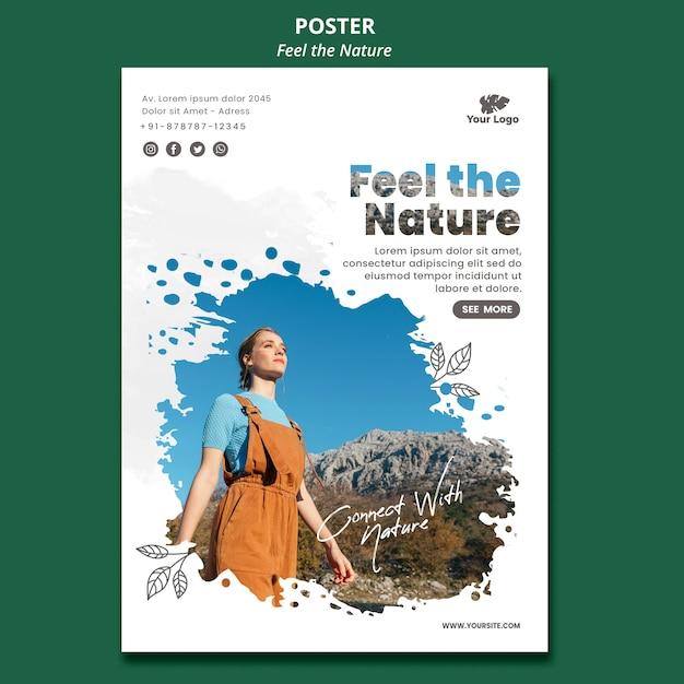 Siente el cartel de la plantilla de la naturaleza PSD gratuito