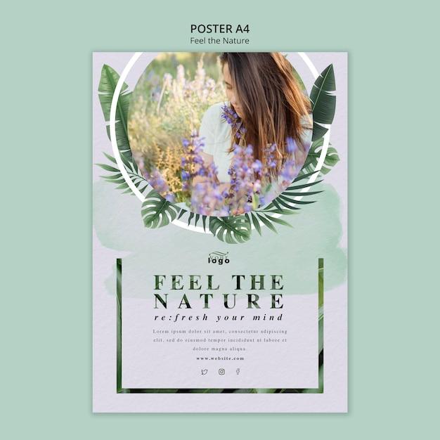 Siente el concepto de cartel de la naturaleza PSD gratuito