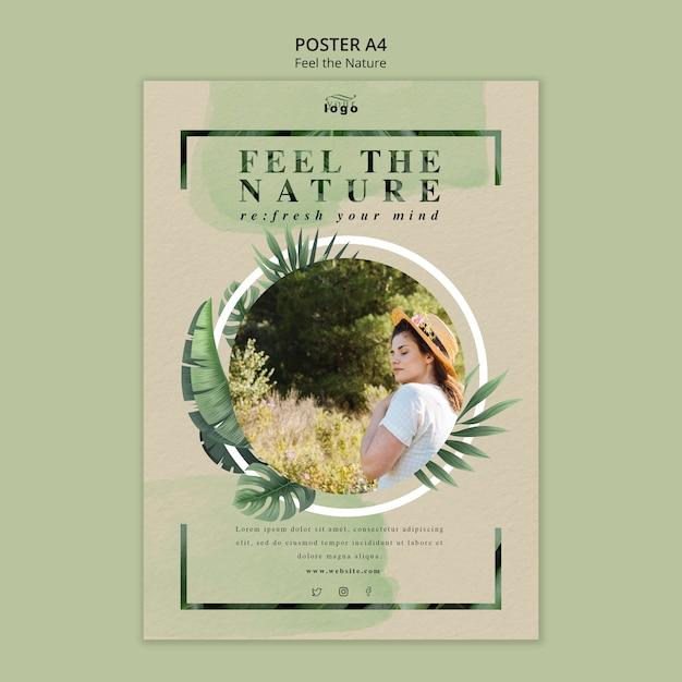 Siente el diseño del cartel de la naturaleza PSD gratuito