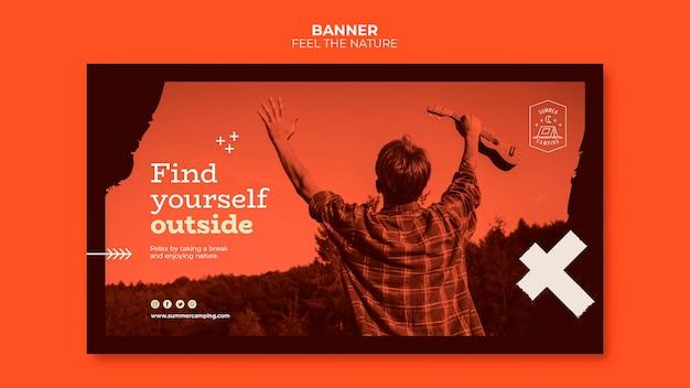 Siente el diseño de la pancarta de la naturaleza PSD gratuito