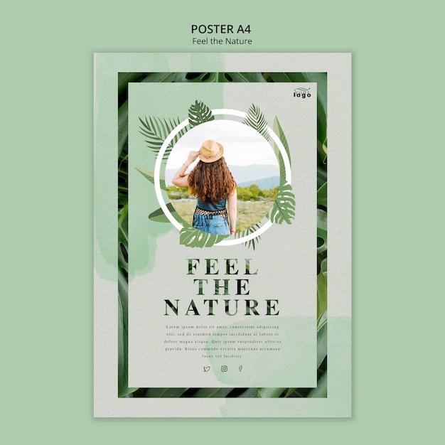 Siente la naturaleza poster PSD gratuito