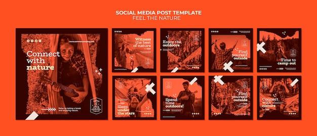 Siente la naturaleza publicación en redes sociales PSD gratuito