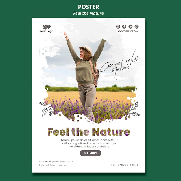 Siente la plantilla del póster de la naturaleza PSD gratuito