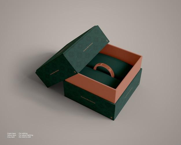 Sieradendoos mockup met een ring erin Premium Psd