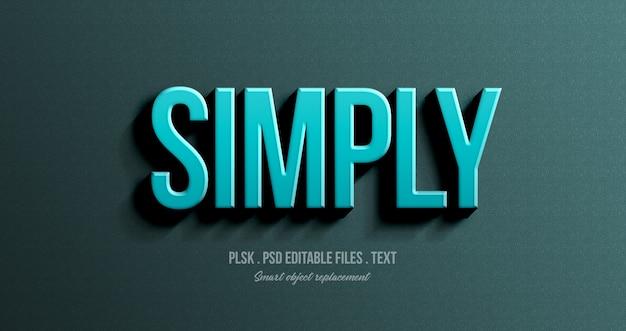 Simplemente maqueta de efecto de estilo de texto 3d PSD Premium