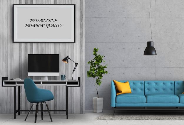 Simulacros de fotograma de póster en sala de trabajo y sofá, render 3d PSD Premium
