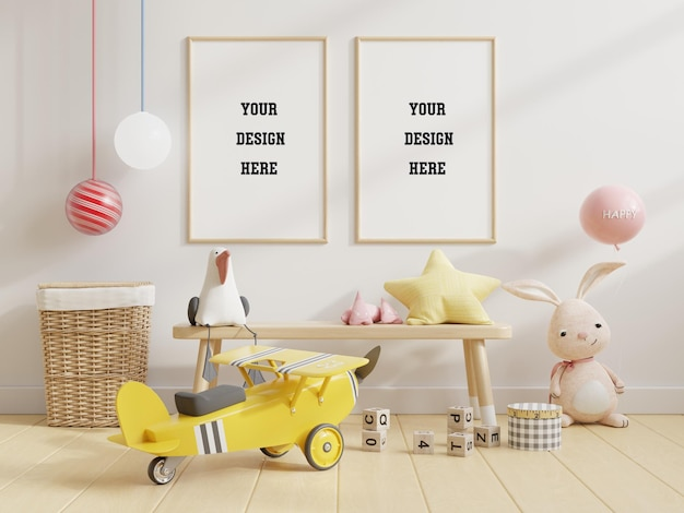 Simulacros de marco de póster en la habitación de los niños, habitación de los niños PSD Premium
