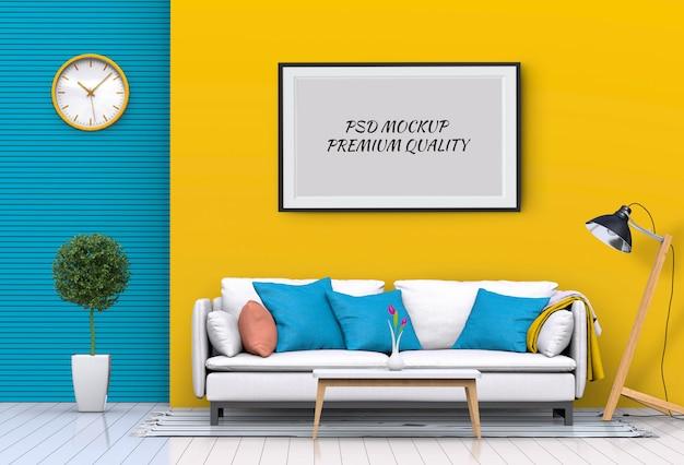 Simulacros de póster en el interior de la sala de estar y el sofá, render 3d PSD Premium