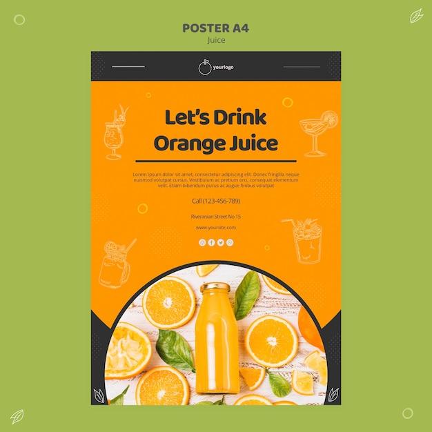 Sinaasappelsap poster sjabloon Gratis Psd