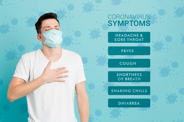 Síntomas de prevención de coronavirus y hombre enfermo PSD gratuito