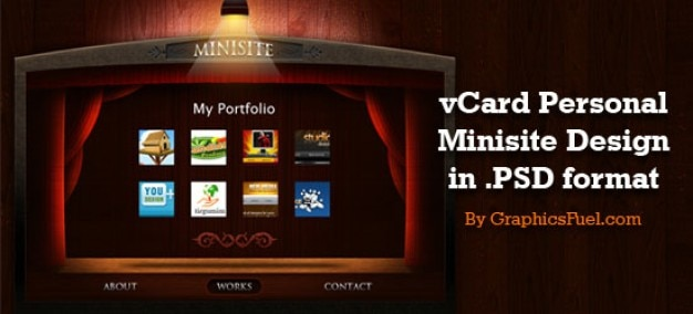 Sixrevisions releases vcard persoonlijk portfolio minisite psd layouts ontworpen door graphicsfuel Gratis Psd