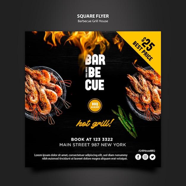 Sjabloon folder met barbecue ontwerp Gratis Psd