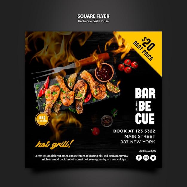 Sjabloon folder met barbecue thema Gratis Psd