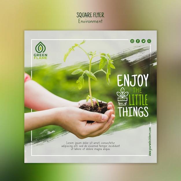 Sjabloon folder met handen met plant en bodem Gratis Psd