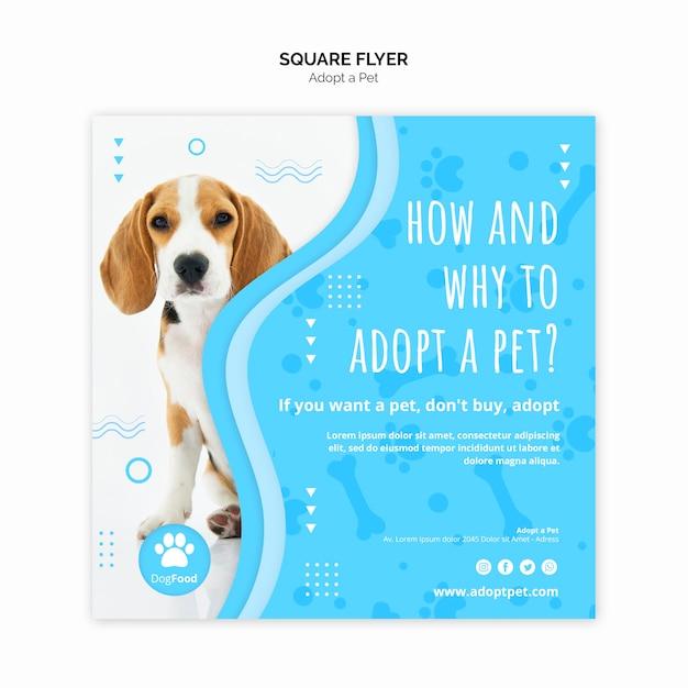 Sjabloon folder met huisdier ontwerp adopteren Gratis Psd