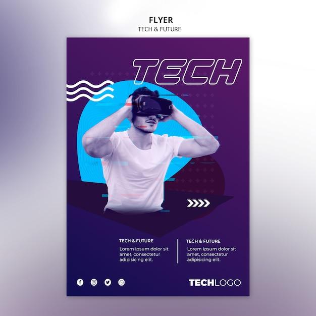 Sjabloon folder met technologie thema Gratis Psd