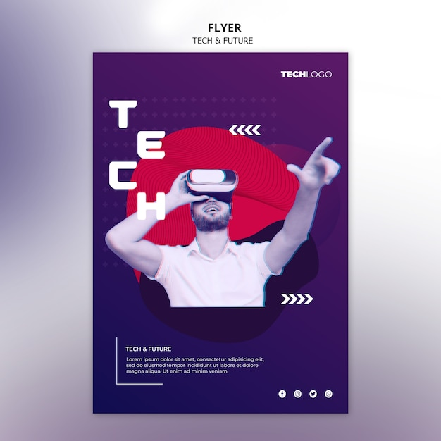 Sjabloon folder met technologieontwerp Gratis Psd