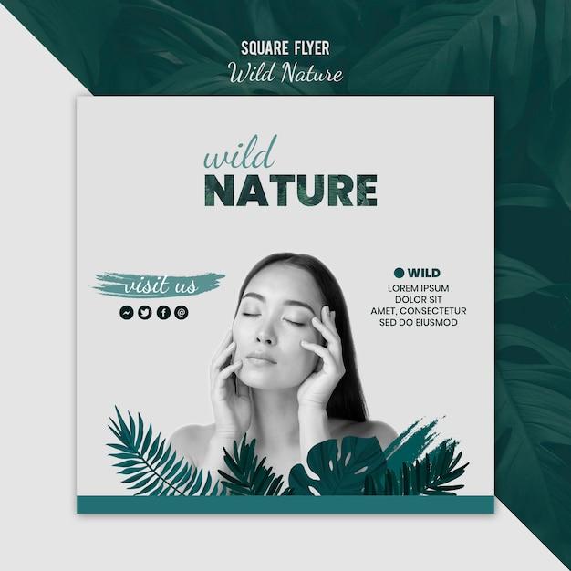 Sjabloon folder met wilde natuur ontwerp Gratis Psd