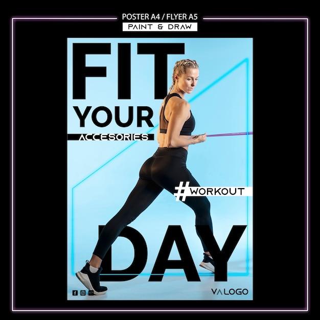 Sjabloon folder voor fitnesstraining Gratis Psd