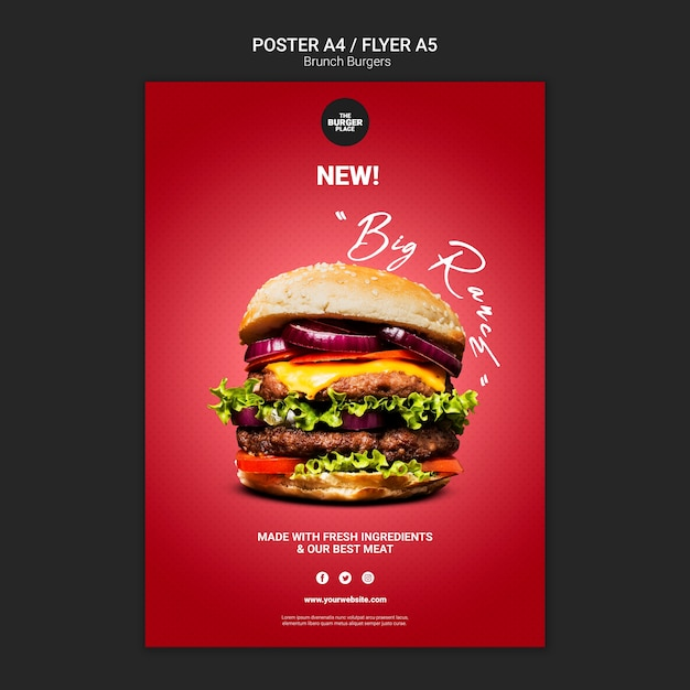 Sjabloon folder voor hamburger restaurant Premium Psd