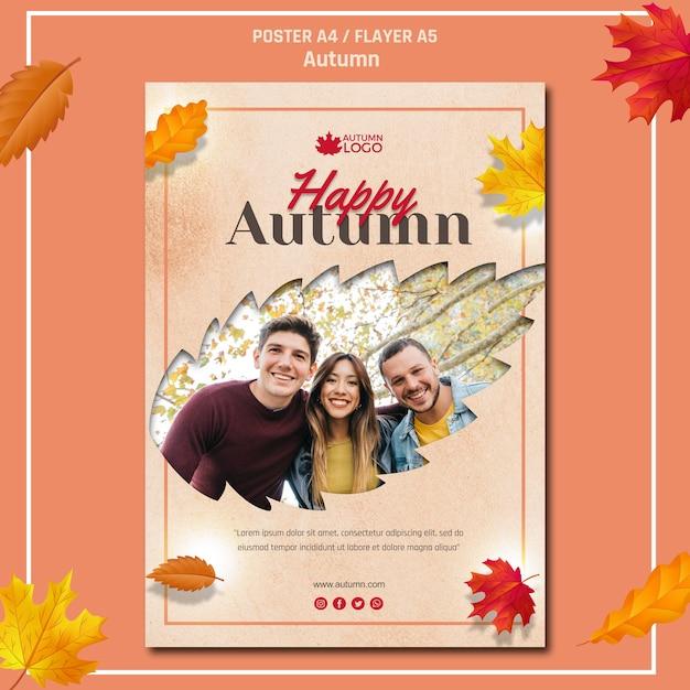 Sjabloon folder voor het verwelkomen van de herfst seizoen Gratis Psd