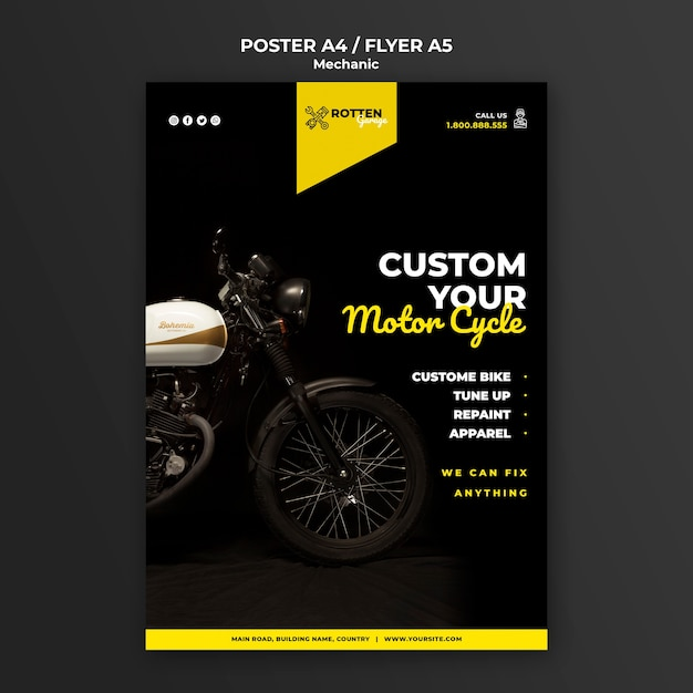 Sjabloon folder voor motorfiets reparatiewerkplaats Gratis Psd