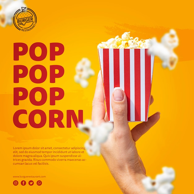 Sjabloon hand met popcorn zak Gratis Psd