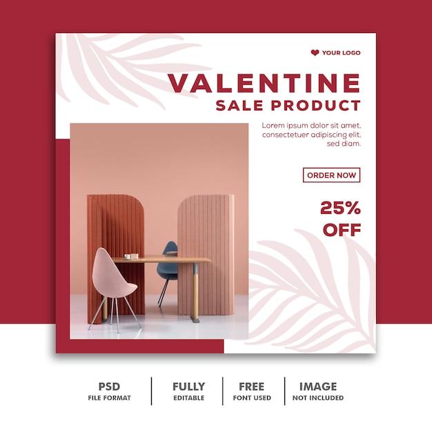 Sjabloon instagram post valentine pink Premium Psd
