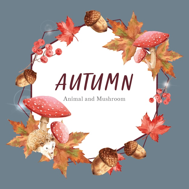 Sjabloon met herfstthema met randkader. Gratis Psd