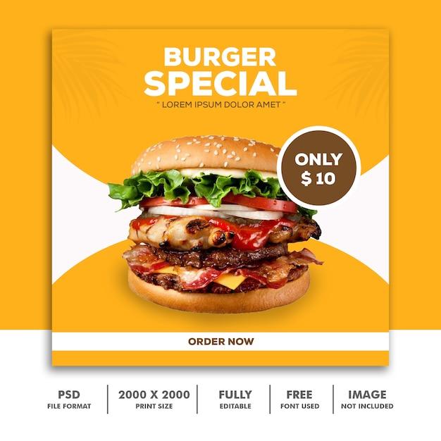 Sjabloon post square banner voor instagram, restaurant food burger special Premium Psd