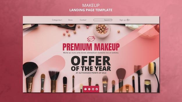 Sjabloon voor bestemmingspagina's voor make-up Gratis Psd